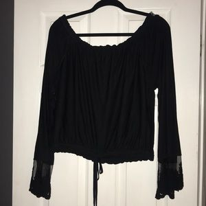 Off the should crop top with lace sleeves
